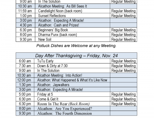 Thanksgiving Alcathon Schedule